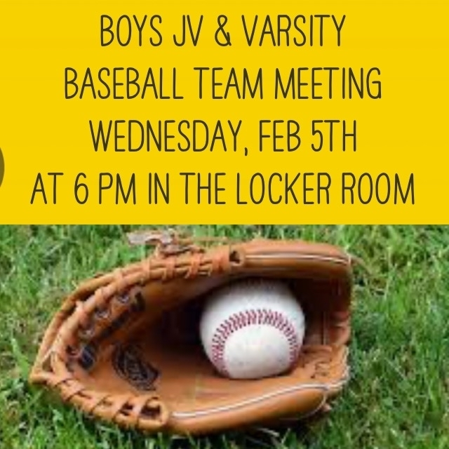 JV and Varsity Baseball Meeting