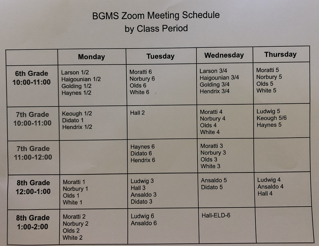 BGMS Zoom Meeting Schedule